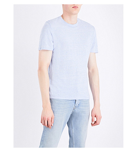 SANDRO Marl-effect linen T-shirt (Light+blue