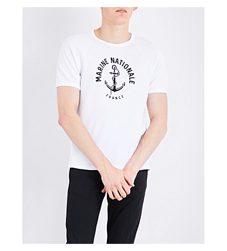 SANDRO Marine Nationale cotton-jersey T-shirt (White