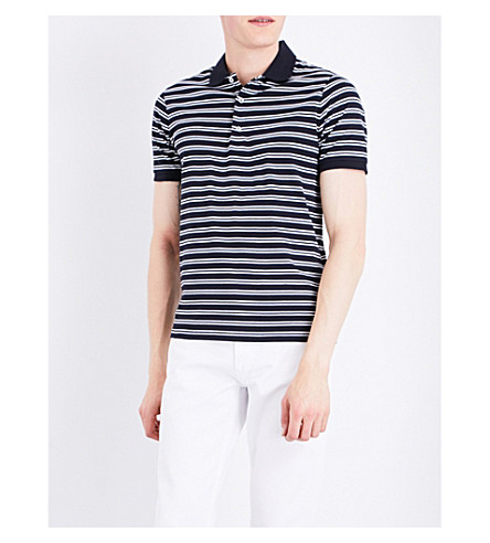 SANDRO Boating cotton polo shirt (Navy+blue