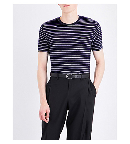 SANDRO Striped linen T-shirt (Navy+blue