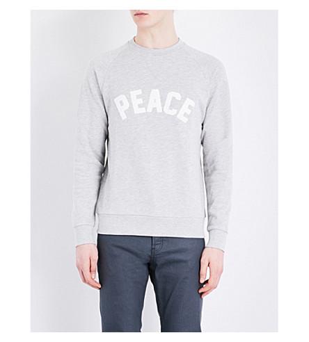 SANDRO Peace-appliqué jersey sweatshirt (Mocked+grey
