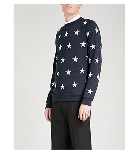 SANDRO Embroidered star cotton-jersey sweatshirt (Navy+blue