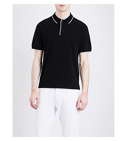 SANDRO Contrast-trim cotton-piqué polo shirt (Black