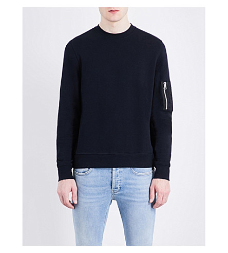 SANDRO Patch-pocket cotton sweatshirt (Navy+blue