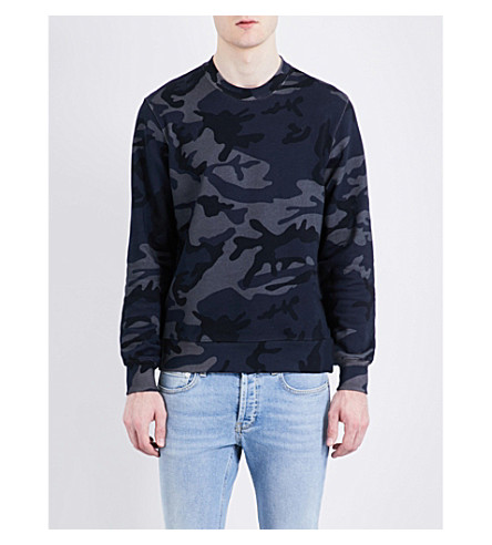 SANDRO Crewneck cotton-jersey sweatshirt (Navy+blue
