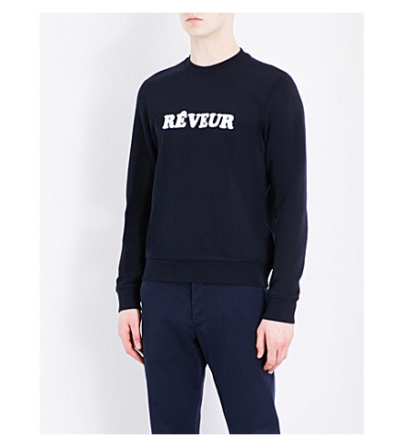 SANDRO Reveur cotton sweatshirt (Navy+blue