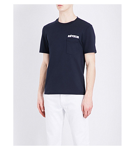 SANDRO Pocket-print cotton T-shirt (Navy+blue