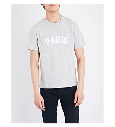 SANDRO Paris-appliqué cotton-blend T-shirt (Mocked+grey