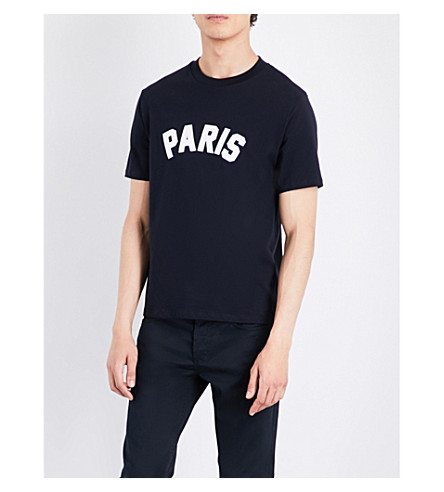 SANDRO Paris cotton T-shirt (Navy+blue