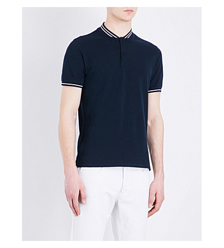 SANDRO Striped-trim cotton-piqué polo shirt (Navy+blue