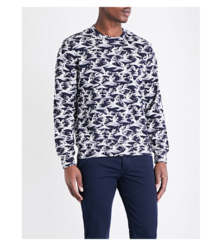 SANDRO Wave-print cotton-jersey sweatshirt (Navy+blue