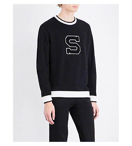 SANDRO University cotton-jersey sweatshirt (Black