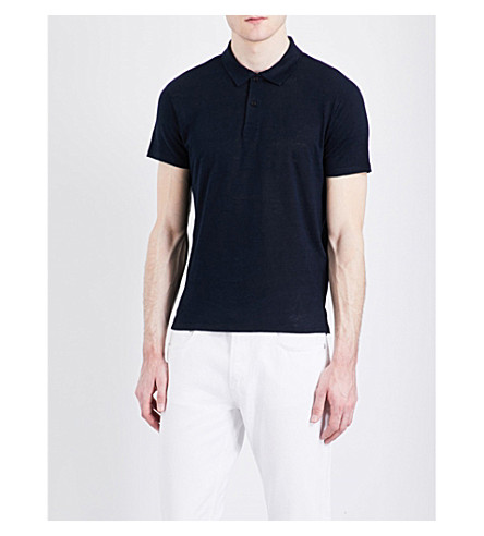 SANDRO Linen polo shirt (Navy+blue