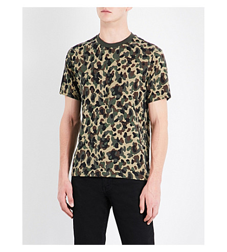 SANDRO Camouflage-print cotton-jersey T-shirt (Olive+green