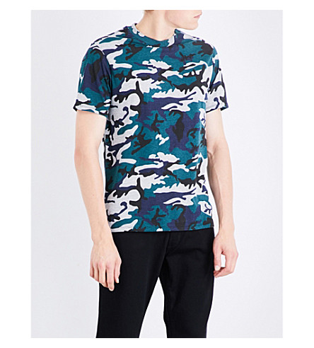 SANDRO Camouflage-print jersey T-shirt (Green