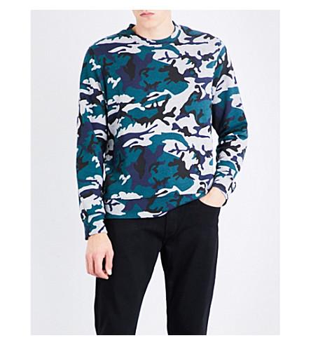 SANDRO Camouflage-print jersey sweatshirt (Green