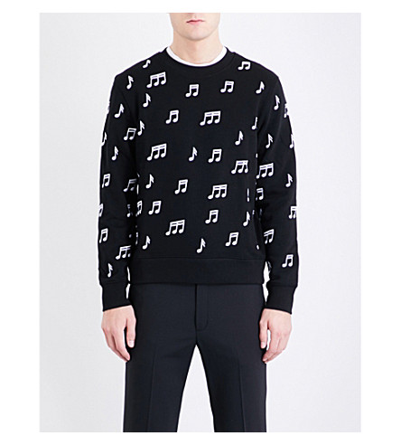 SANDRO Musical note-embroidered cotton-jersey sweatshirt (Black