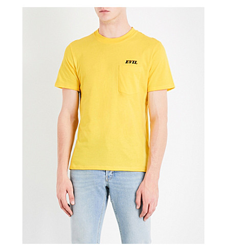 SANDRO Evil motif cotton-jersey T-shirt (Yellow