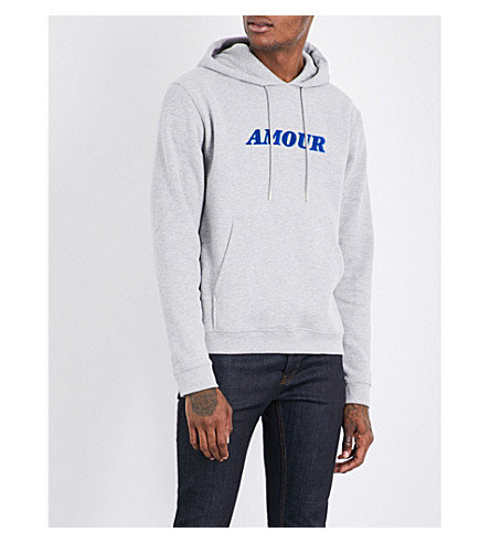 SANDRO Amour cotton-jersey hoody (Mocked+grey