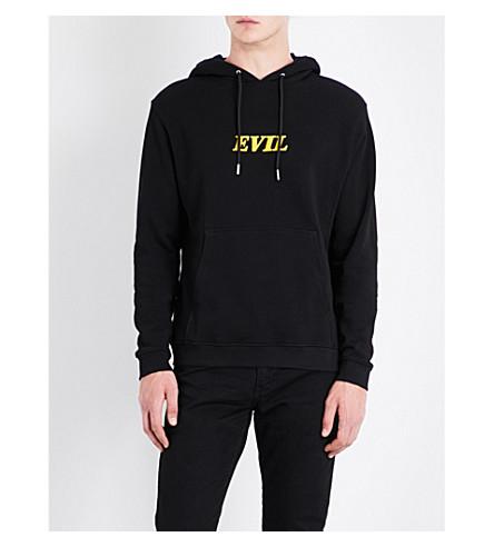 SANDRO Evil motif cotton-jersey hoody (Black