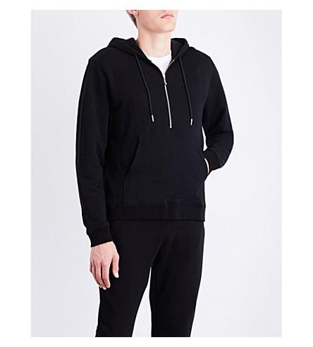 SANDRO Half-zip cotton-jersey hoody (Black