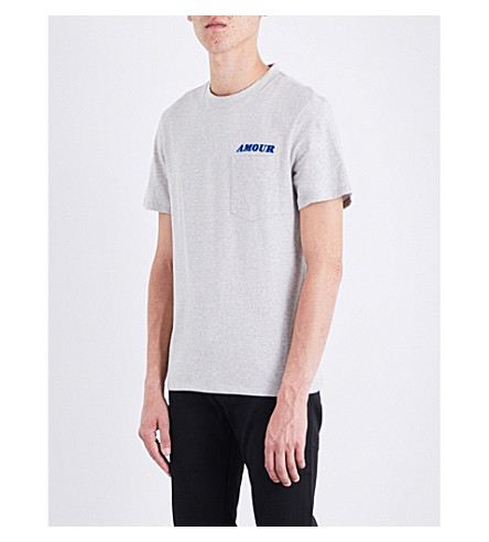 SANDRO Slogan-embroidered cotton-jersey T-shirt (Grey