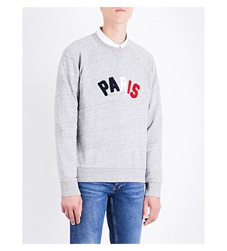 SANDRO Tricolour cotton-jersey sweatshirt (Mocked+grey