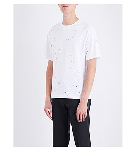 SANDRO Open-holes cotton-jersey T-shirt (White