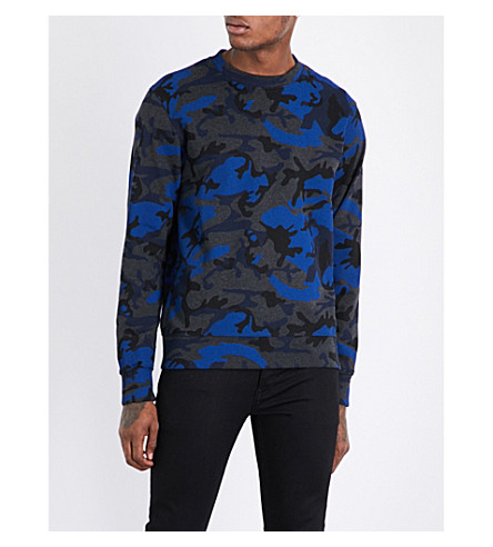 SANDRO Camouflage cotton-jersey sweatshirt (Electric+blue
