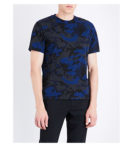 SANDRO Camouflage-print cotton-blend T-shirt (Electric+blue