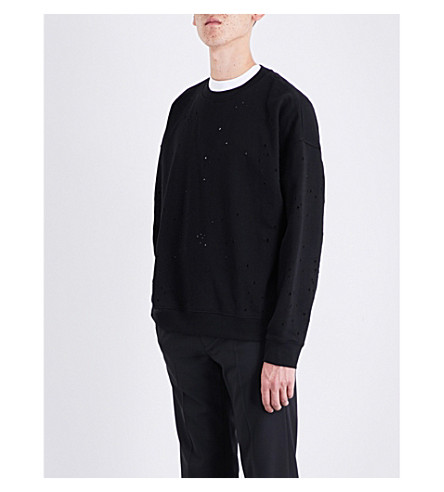 SANDRO Open-holes cotton-jersey sweatshirt (Black