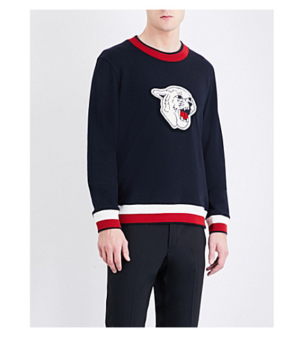 SANDRO Wildcat-patch cotton-jersey sweatshirt (Navy+blue