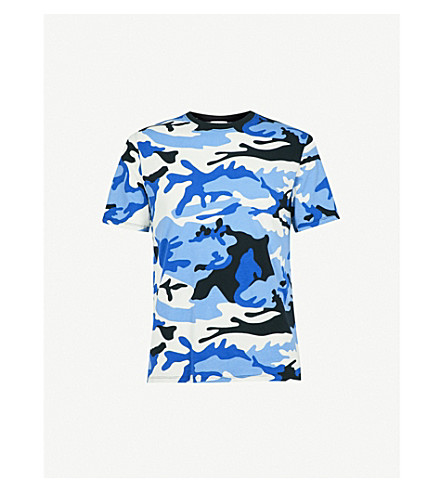 SANDRO War cotton-jersey T-shirt (Blue