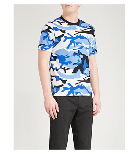 SANDRO War cotton-jersey T-shirt (Blue