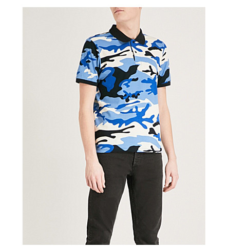 SANDRO Camouflage-print cotton-pique polo shirt (Blue