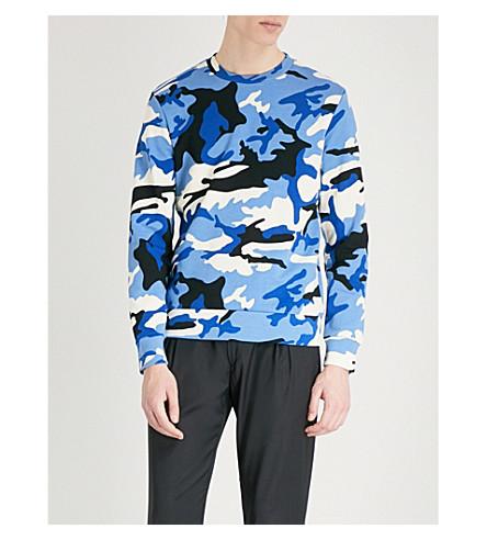 Outlet Websites SANDRO Camo print cotton sweatshirt Blue Top Quality Cheap Price EvIw5