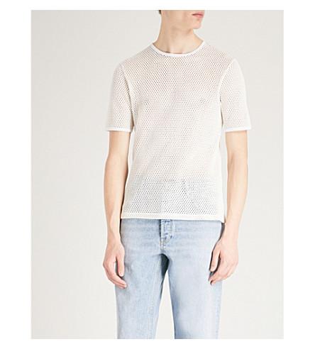 SANDRO Semi-sheer cotton-mesh T-shirt (Ecru