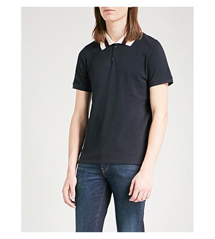 SANDRO Striped collar cotton-piqué polo shirt (Marine
