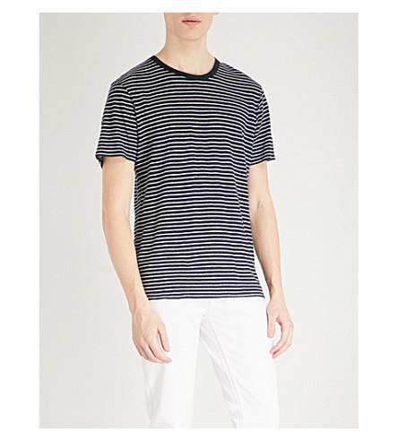 SANDRO Stripe-pattern linen T-shirt (Marine