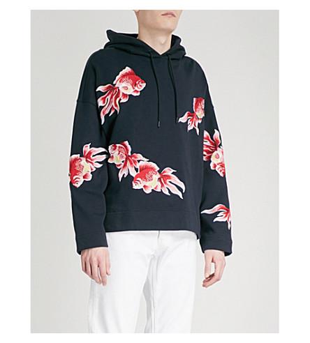 SANDRO Goldfish-embroidered cotton-jersey hoody (Marine