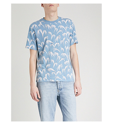 SANDRO Palm leaf-print cotton-jersey T-shirt (Sky+blue