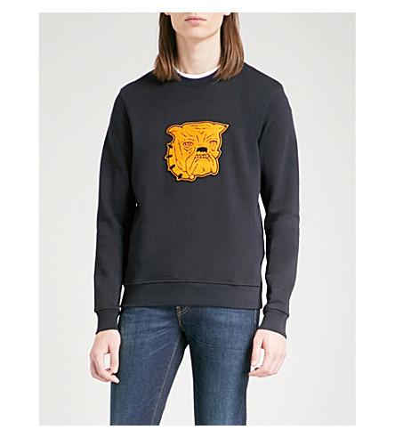 SANDRO Bulldog cotton-jersey sweatshirt (Marine