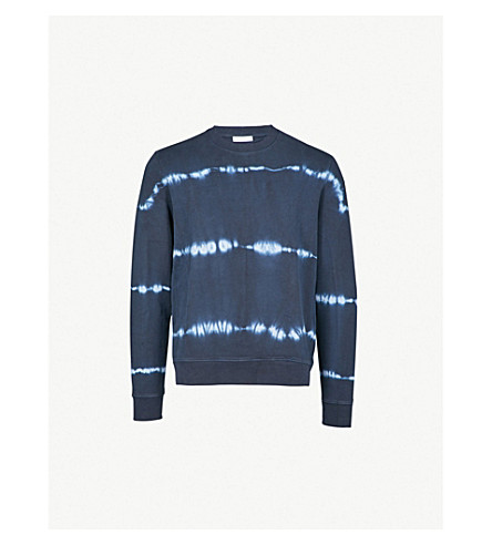 SANDRO Tie dye-print cotton-jersey sweatshirt (Navy+blue