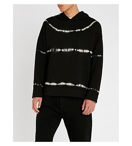 SANDRO 领带染料棉平纹针织面料帽衫 (黑色