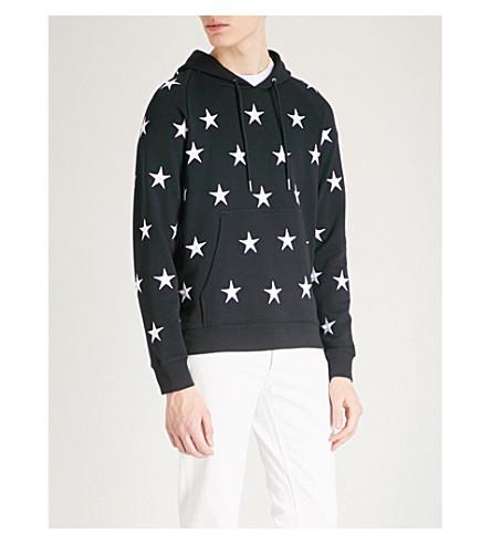 SANDRO Star-print cotton-jersey hoody (Navy+blue