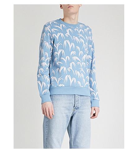 SANDRO Palm leaf-print cotton-jersey sweatshirt (Sky+blue