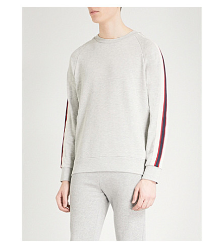 SANDRO Striped-sleeve cotton sweatshirt (Heather+grey