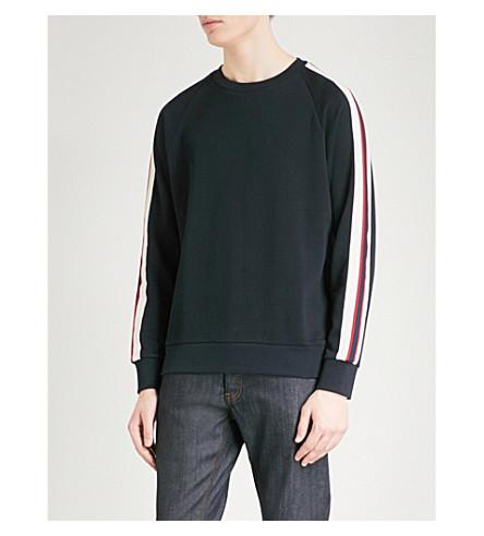 SANDRO Striped-sleeve cotton sweatshirt (Marine