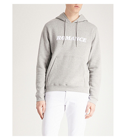 SANDRO Printed cotton-jersey hoody (Mocked+grey