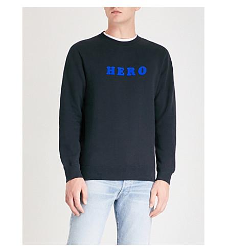 SANDRO 英雄平纹针织棉毛衣 (海军 + 蓝色